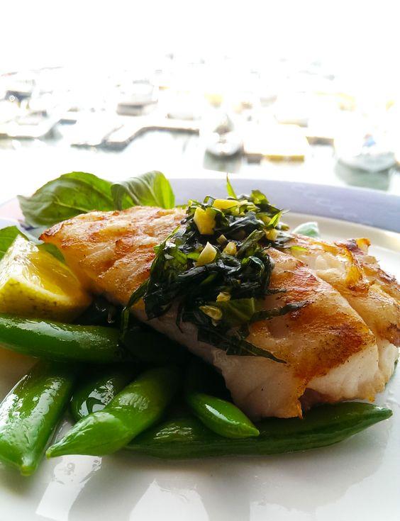 Fresh Lingcod with Lemon Basil Glaze